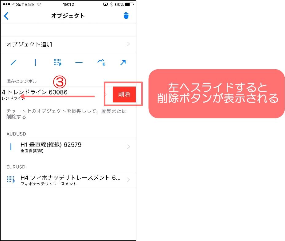 MT4スマホアプリのオブジェクトの削除する方法③