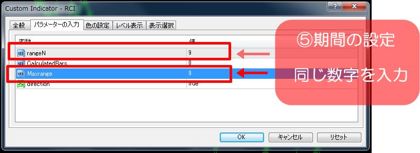 RCIインジケーターをMT4に3本表示設定させる③パラメーター